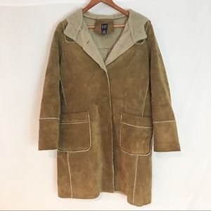 Gap Genuine Leather Faux Fur Lining Trench Coat